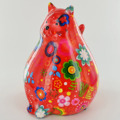 Pomme Pidou Chubby Cat Animal Money Bank - Red Peace - Prezents.com
