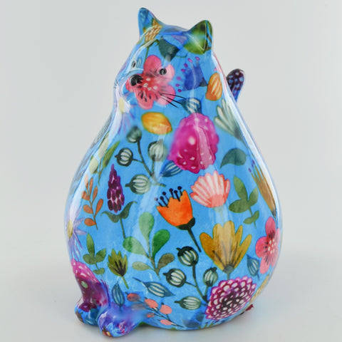Pomme Pidou Chubby Cat Animal Money Bank - Blue Peony - Prezents.com