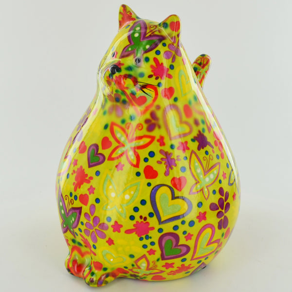 Pomme Pidou Chubby Cat Animal Money Bank - Green Butterflies - Prezents.com