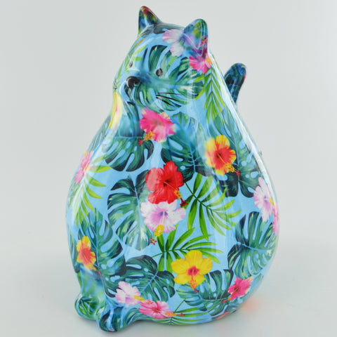 Pomme Pidou Chubby Cat Animal Money Bank - Blue Palm - Prezents.com