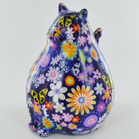 Pomme Pidou Chubby Cat Animal Money Bank - Purple Floral - Prezents.com