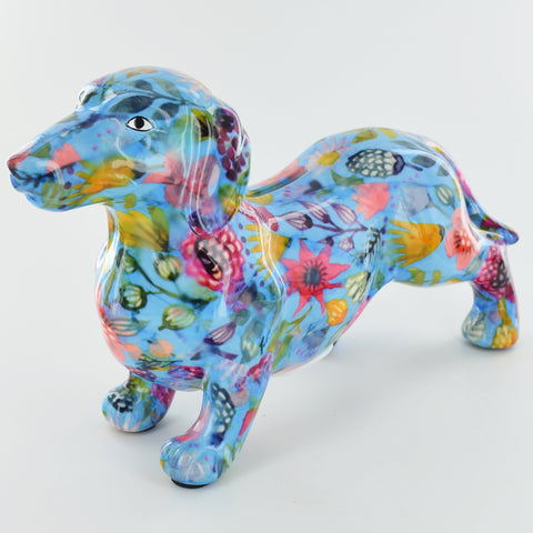 Pomme Pidou Frankie Dachshund Animal Money Bank - Blue Peony - Prezents.com
