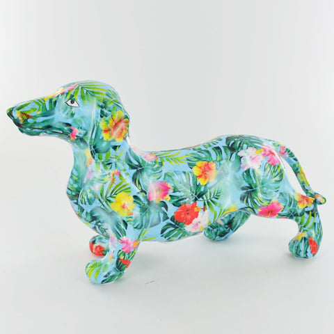 Pomme Pidou Frankie Dachshund Animal Money Bank - Blue Palm - Prezents.com