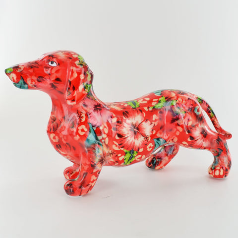 Pomme Pidou Frankie Dachshund Animal Money Bank - Red Leaves