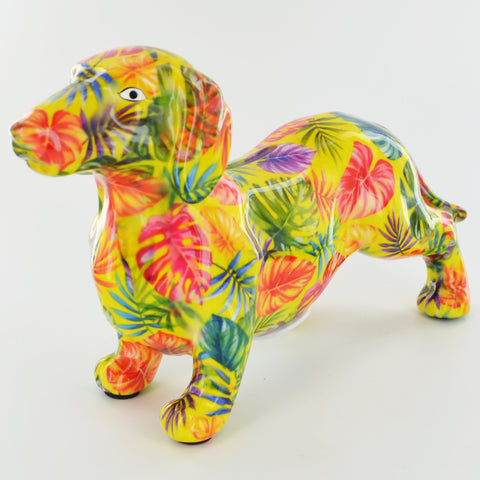 Pomme Pidou Frankie Dachshund Animal Money Bank - Green Palm - Prezents.com