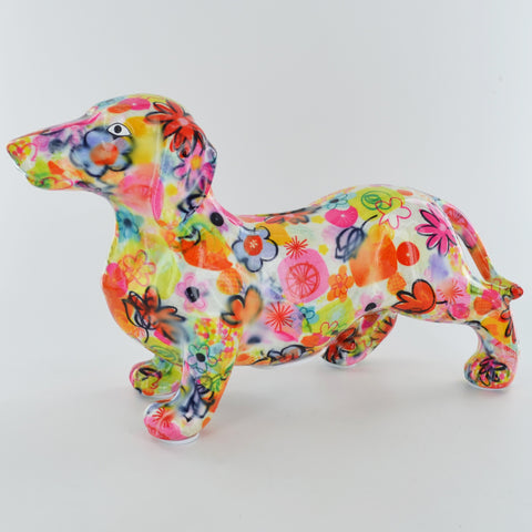 Pomme Pidou Frankie Dachshund Animal Money Bank - White Floral - Prezents.com