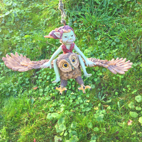 Pixie Flying an Owl Sculpture by Tony Fisher - Prezents  - 1