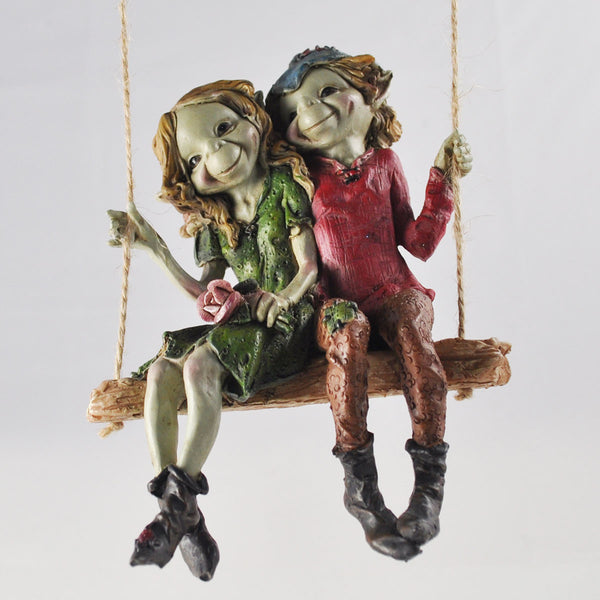 Pixie Couple on a Swing Sculpture by Tony Fisher - Prezents  - 1