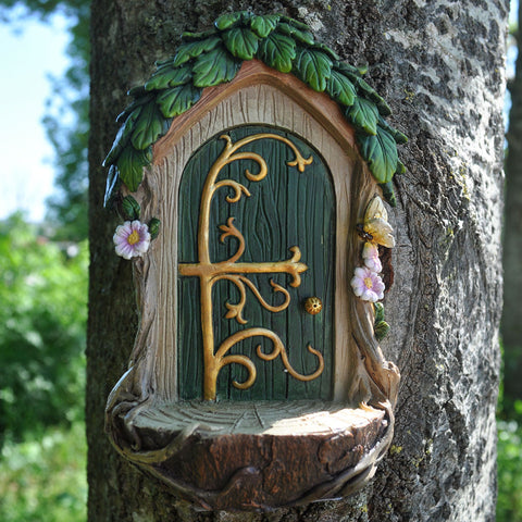 Fairy Door - Green Door with Fairy Landing Pad