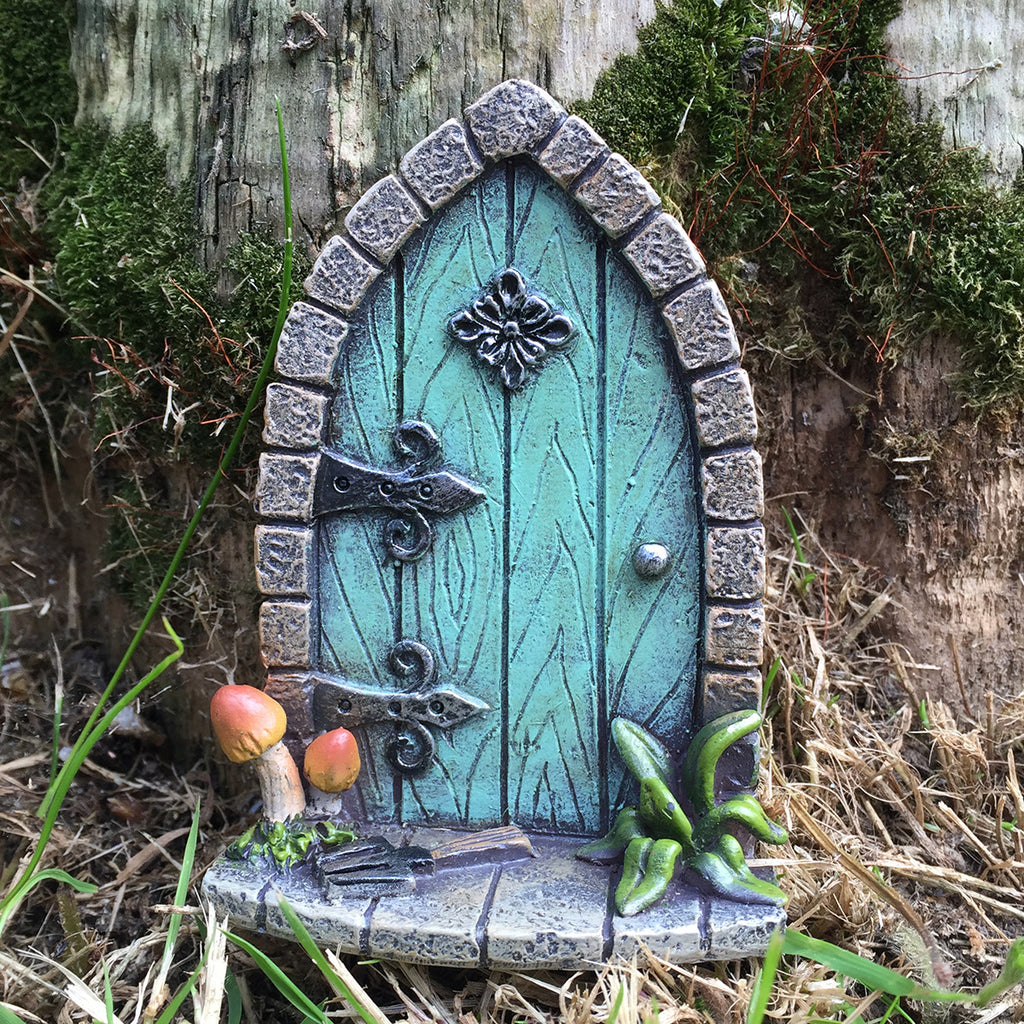 Mini fairy door turquoise stone archway prezents for Miniature fairy garden doors