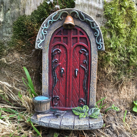 Mini Fairy Door - Red Double Door and Bell - Prezents.com