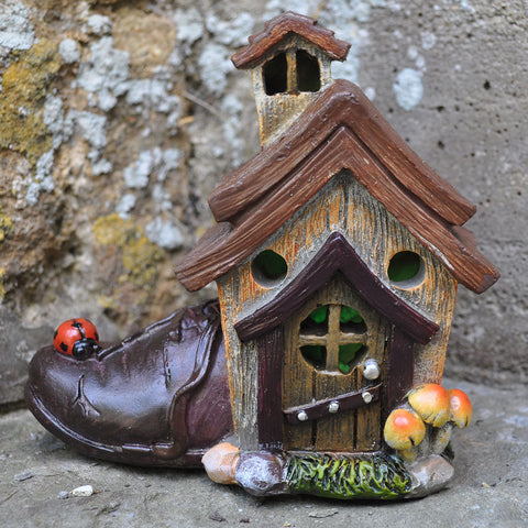 Ornamental Cobblers Shoe Fairy House with Lights - Prezents  - 2