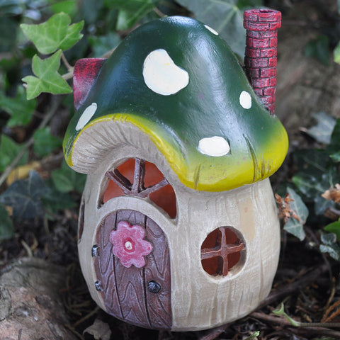 Green Toadstool Fairy House with Lights - Prezents  - 3