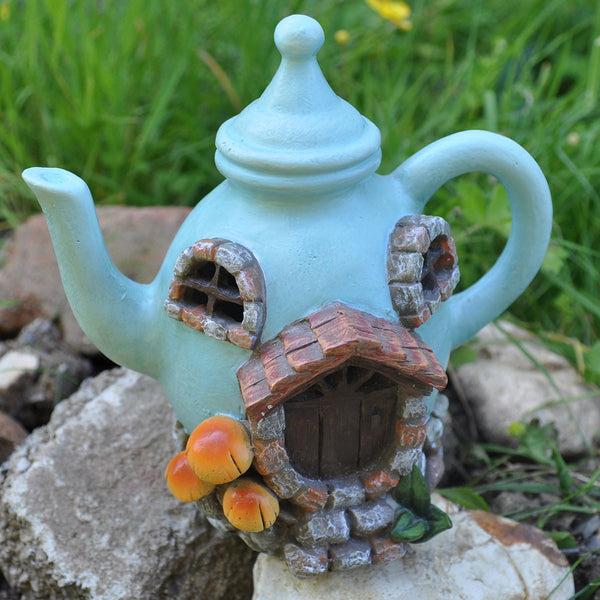 Fairy House - Blue Teapot with Lights