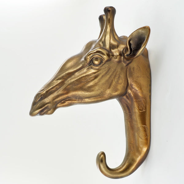 Giraffe Head Bronze Coat Hook - Prezents.com