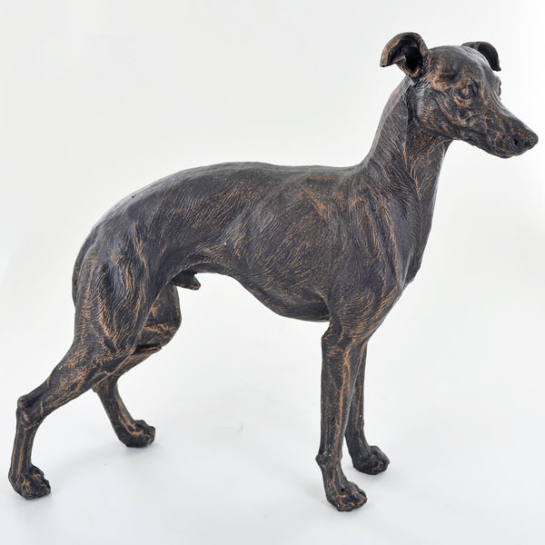 Large Greyhound Painted Bronze Resin Sculpture - Prezents.com