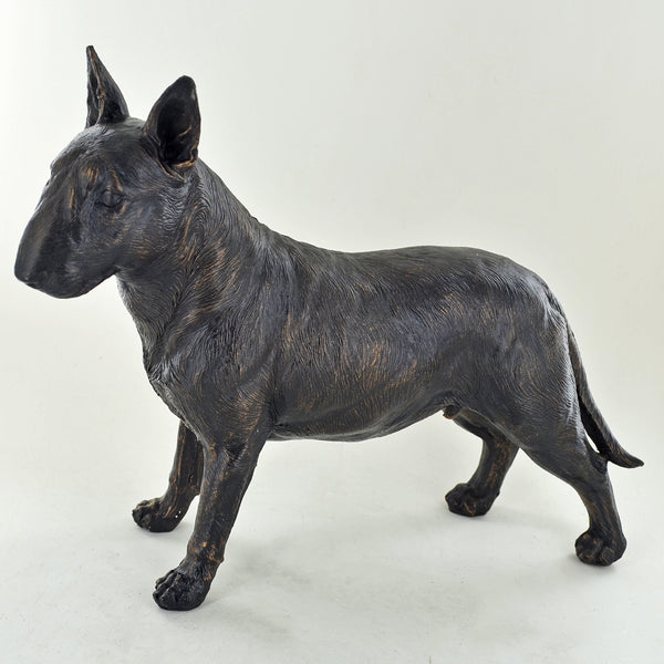 Bull Terrier Dog Painted Bronze Resin Sculpture - Prezents.com
