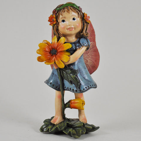 Flower Fairy in a Blue Dress Holding a Flower - Prezents.com