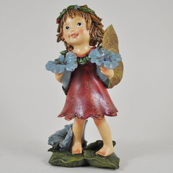 Flower Fairy in a Red Dress Holding Flowers - Prezents.com