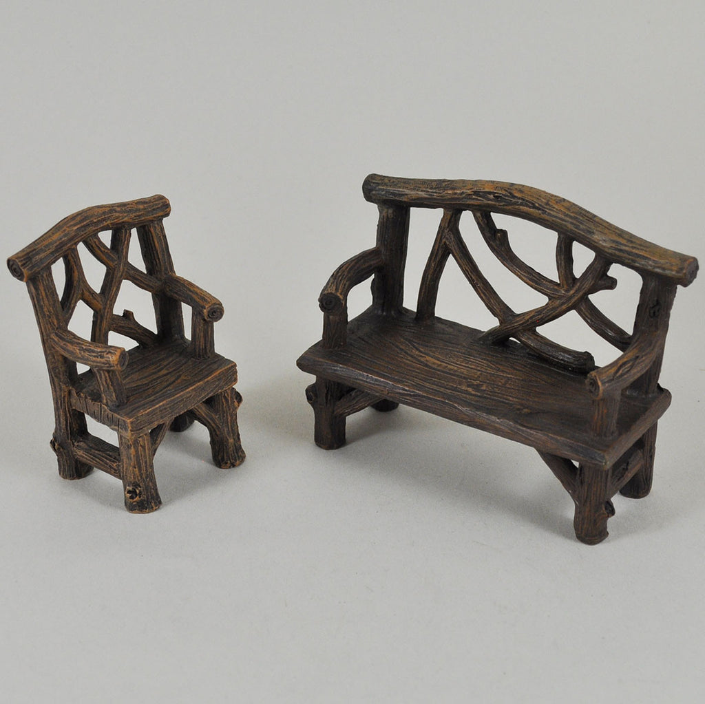 Magnificent Miniature Wooden Bench And Chair Set For The Fairy Garden Bralicious Painted Fabric Chair Ideas Braliciousco
