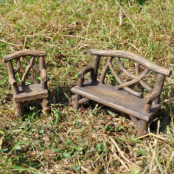 Miniature Wooden Bench and Chair Set for the Fairy Garden - Prezents  - 4