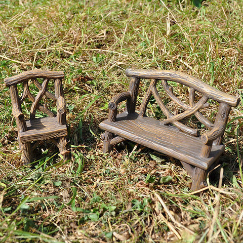 Miniature Wooden Bench and Chair Set for the Fairy Garden - Prezents.com