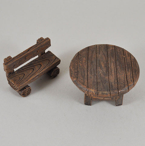 Miniature Wooden Bench and Chair Set for the Fairy Garden - Prezents  - 1