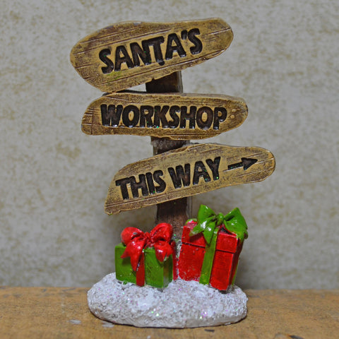 Fairy Garden - Santa's Workshop Christmas Sign - Prezents.com