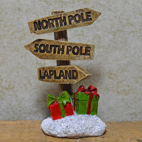 Fairy Garden - North Pole, South Pole, Lapland Christmas Sign - Prezents.com