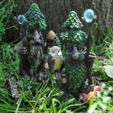 Wise Tree Ent Pair with Owl, Acorn and Staffs - Prezents.com