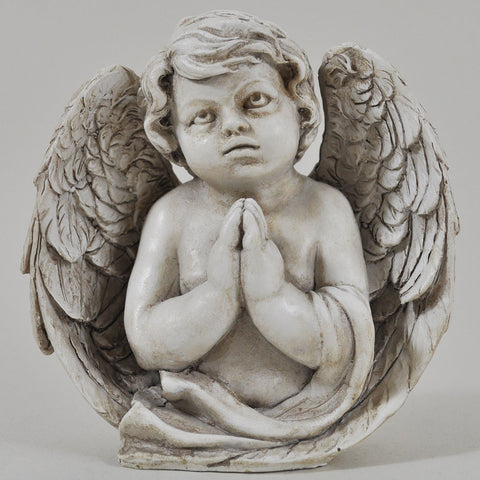 Praying Cherub Angel Wrapped in Wings Sculpture