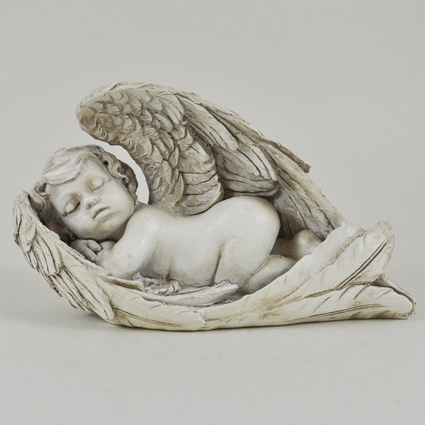 Sleeping Cherub Angel Wrapped in Wings Sculpture