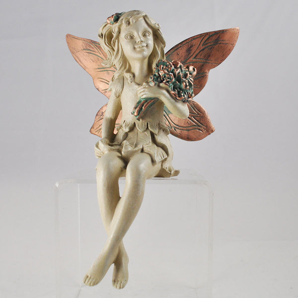 Forest Fairy Holding a Bouquet Shelf Sitting Sculpture - Prezents.com