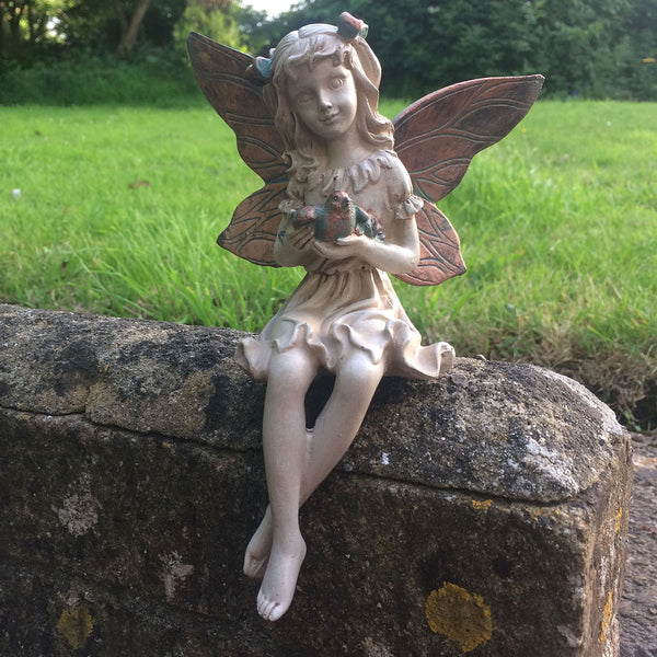 Forest Fairy Holding a Bird Shelf Sitting Sculpture - Prezents.com