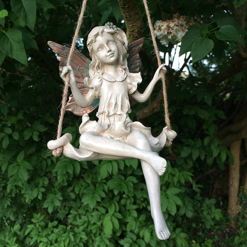 Forest Fairy on a Swing Hanging Sculpture - Prezents.com