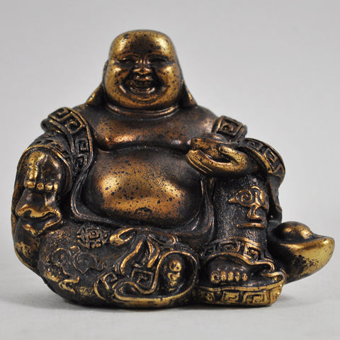 Rustic Gold Happy Buddha Sculpture - Prezents  - 1