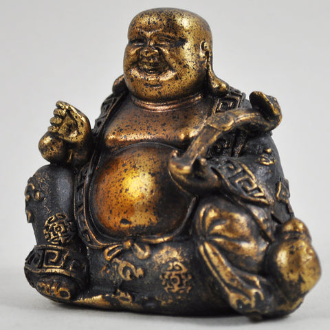 Rustic Gold Happy Buddha Sculpture - Prezents.com
