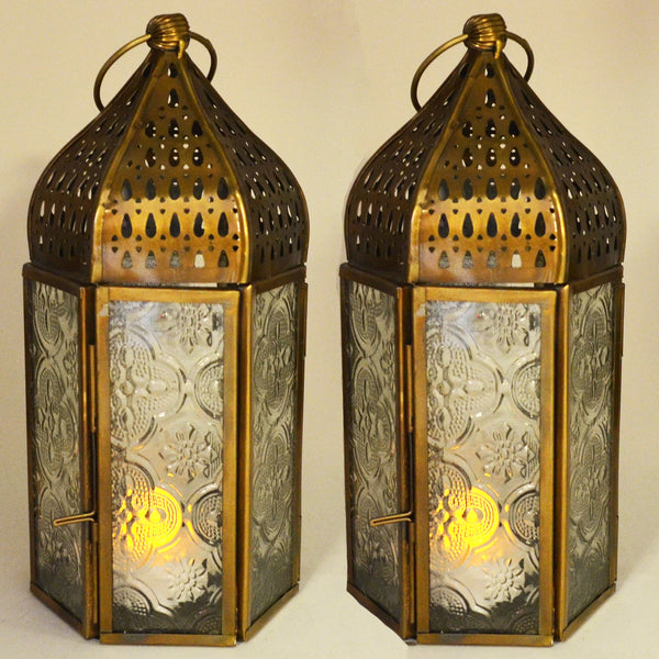 Moroccan Style Brass Lanterns Set of Two