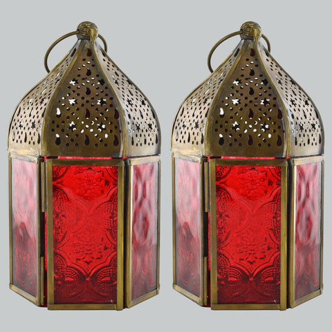 Moroccan Style Colourful Lanterns Set of Two Red