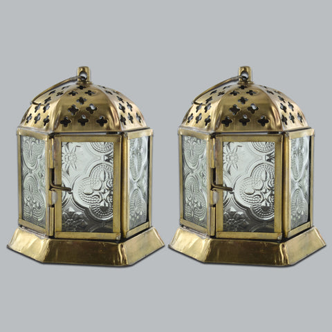 Moroccan Style Colourful Lanterns Set of Two Clear
