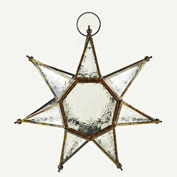 Moroccan Style Hanging Star Glass Lantern