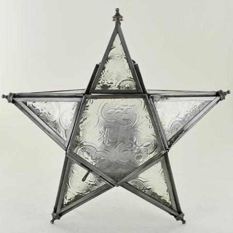 Moroccan Style Hanging Star Glass Lantern Small - Prezents.com