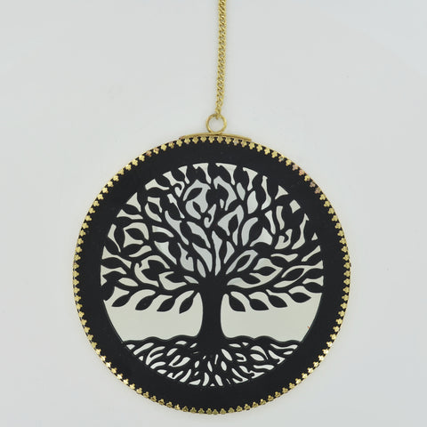Tree of Life Wall Mirror Plaque with Brass Chain
