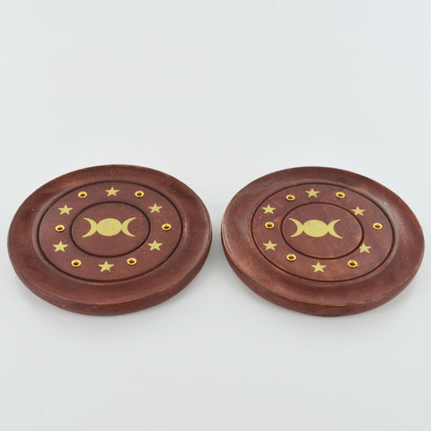 Incense Stick Burner Tripple Moon Plate Set of 2 - Prezents.com