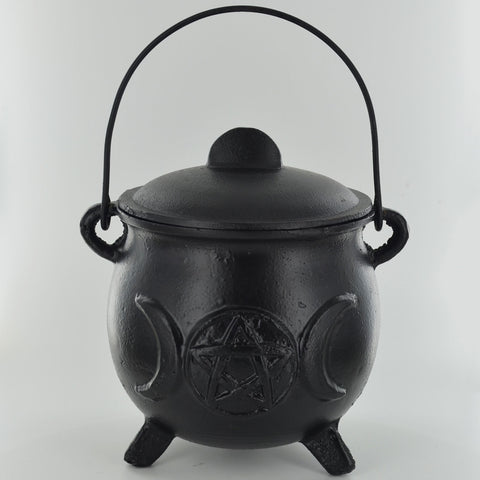 Cast Iron Cauldron with Tripple Moon Symbols - X-Large - Prezents.com