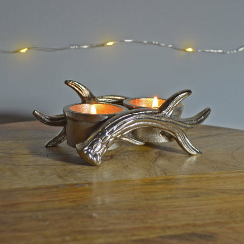Antlers of Exmoor Double Tea Light Candle Holder - Prezents.com