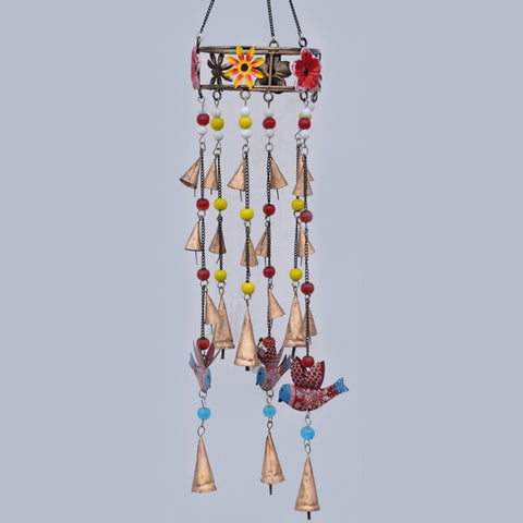 Birds Bells & Flowers Brass Wind Chime - Prezents.com