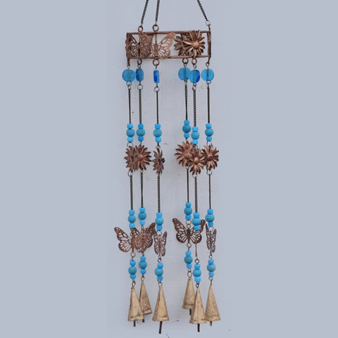 Copper Flowers & Butterflies Wind Chime - Prezents.com