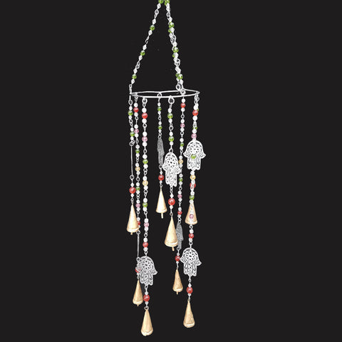 Hamsa & Beads Silver Wind Chime - Prezents.com