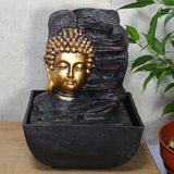 Indoor Water Fountain Golden Buddha Bust With LED Light - Prezents.com